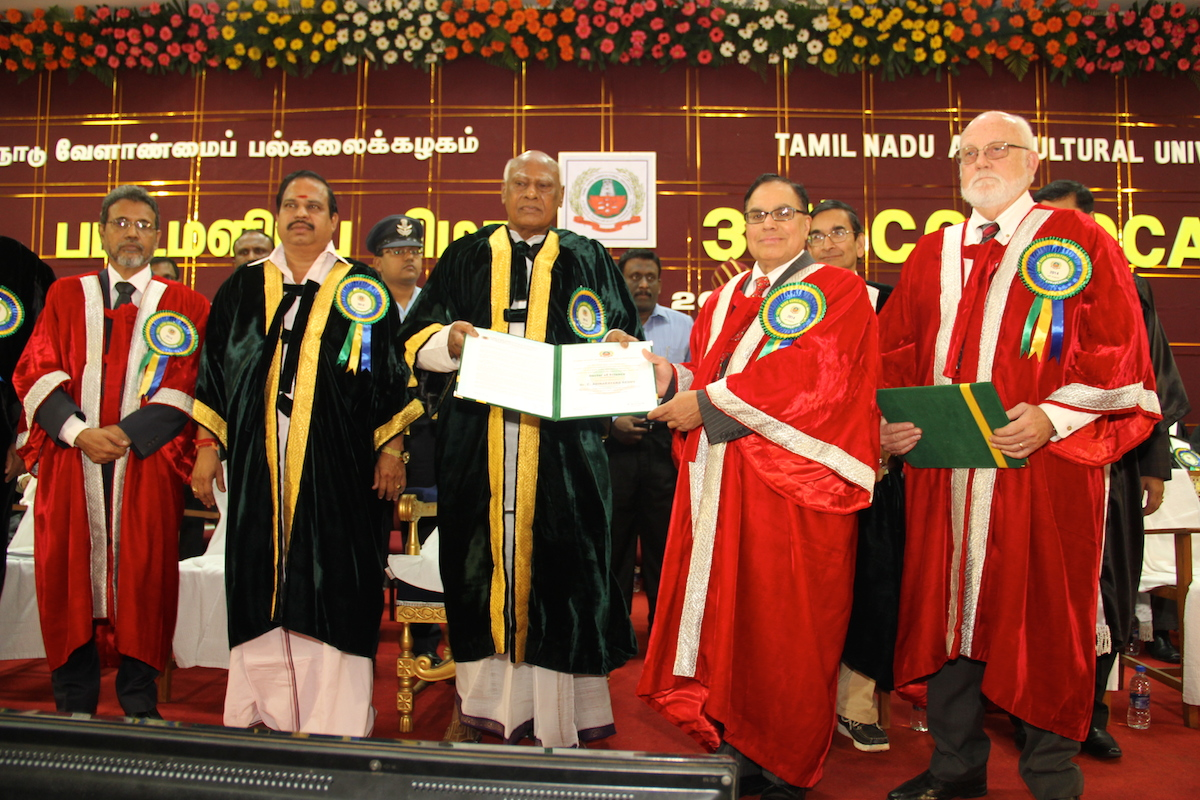 Emeritus Professor A. Reddy who received the degree of Doctor of Science (Honoris Cuasa) at Tamil Nadu Agricultural University on August 26, 2014